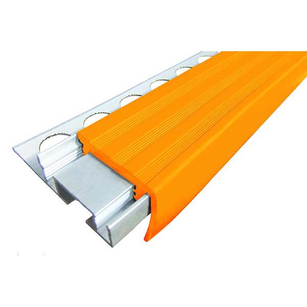 Закладной противоскользящий алюминиевый профиль ALPB 2,7 м 32 мм/20 мм оранжевый
