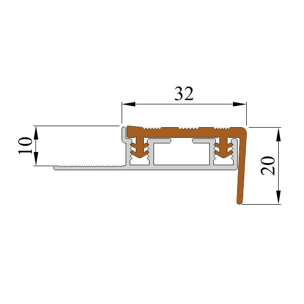 Закладной противоскользящий алюминиевый профиль ALPB 2,7 м 32 мм/20 мм коричневый