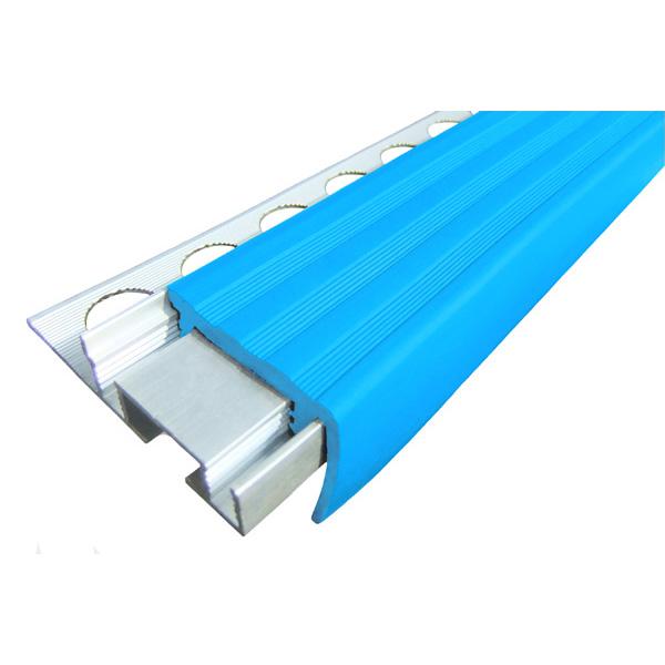 Закладной противоскользящий алюминиевый профиль ALPB 2,7 м 32 мм/20 мм голубой
