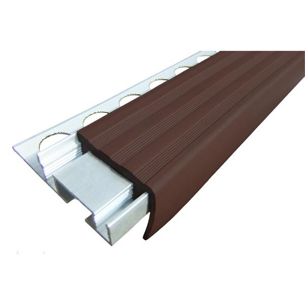 Закладной противоскользящий алюминиевый профиль ALPB 2,4 м 32 мм/20 мм темно-коричневый