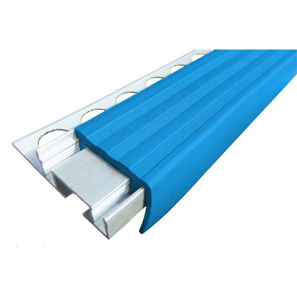 Закладной противоскользящий алюминиевый профиль ALPB 2,4 м 32 мм/20 мм синий