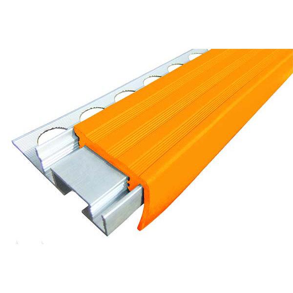 Закладной противоскользящий алюминиевый профиль ALPB 2,4 м 32 мм/20 мм оранжевый