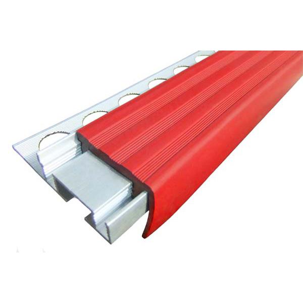 Закладной противоскользящий алюминиевый профиль ALPB 2,4 м 32 мм/20 мм красный