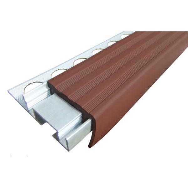 Закладной противоскользящий алюминиевый профиль ALPB 2,4 м 32 мм/20 мм коричневый