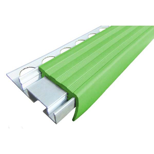 Закладной противоскользящий алюминиевый профиль ALPB 2,4 м 32 мм/20 мм зеленый