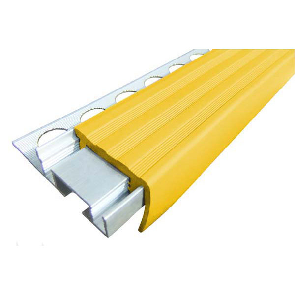 Закладной противоскользящий алюминиевый профиль ALPB 2,4 м 32 мм/20 мм желтый