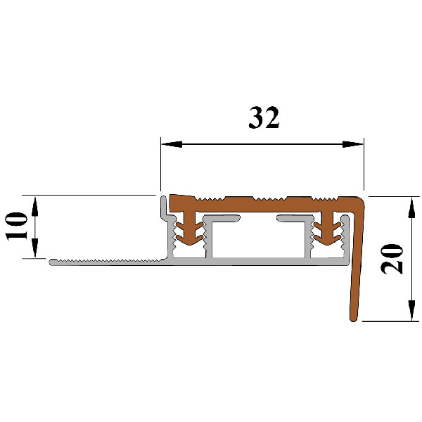 Противоскользящая вставка в Алюминиевый угол под кафель (2,4м) «ALPB»