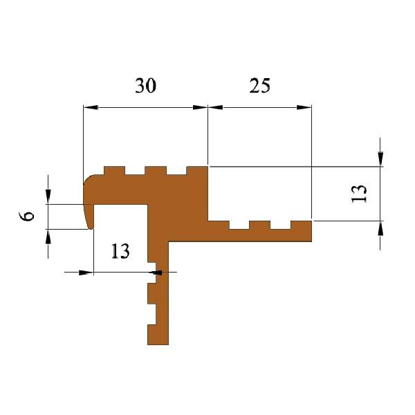 Закладной противоскользящий профиль «Безопасный Шаг» (БШ-30) бежевый