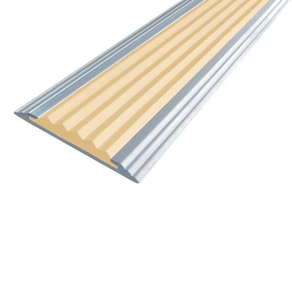 Противоскользящая алюминиевая полоса Стандарт 2,7 м 40 мм/5,6 мм бежевый