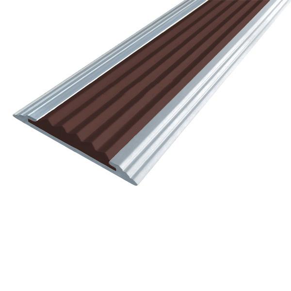 Противоскользящая алюминиевая полоса Стандарт 1,0 м 40 мм/5,6 мм темно-коричневый