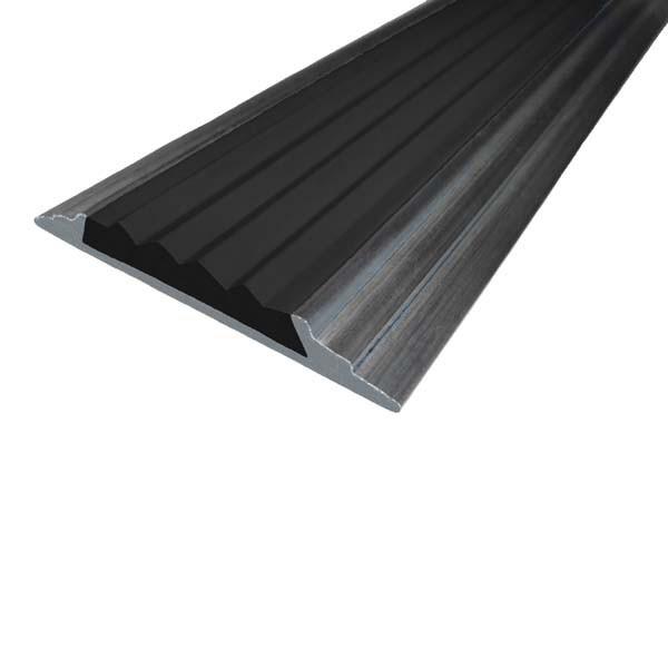 Противоскользящая алюминиевая накладная полоса 46 мм/5 мм 2,0 м черный