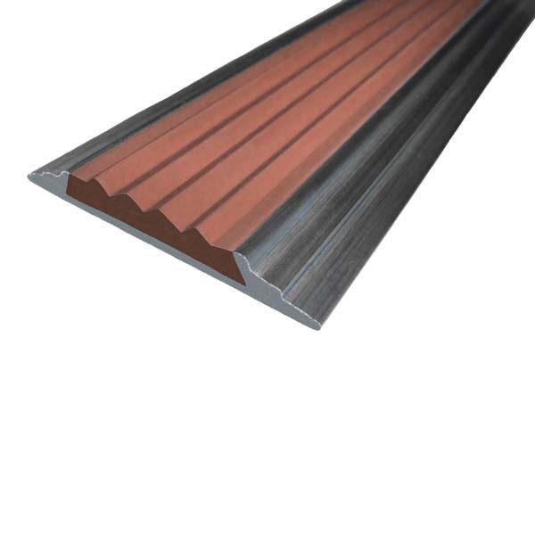 Противоскользящая алюминиевая накладная полоса 46 мм/5 мм 2,0 м коричневый