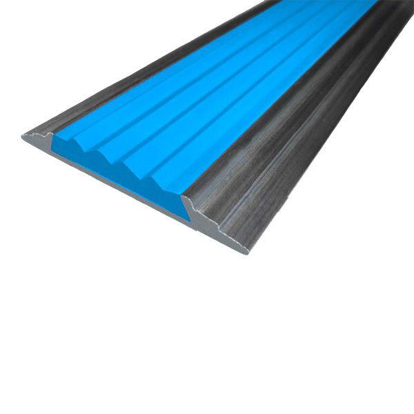 Противоскользящая алюминиевая накладная полоса 46 мм/5 мм 2,0 м голубой
