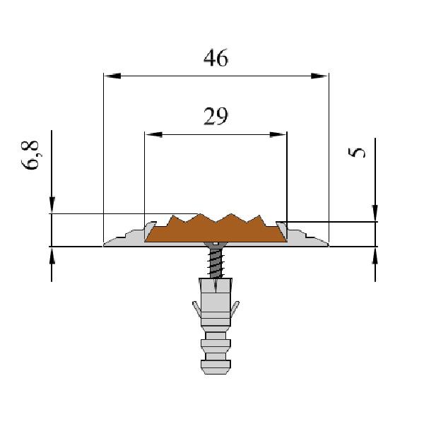 Противоскользящая алюминиевая накладная полоса 46 мм/5 мм 1,0 м коричневый