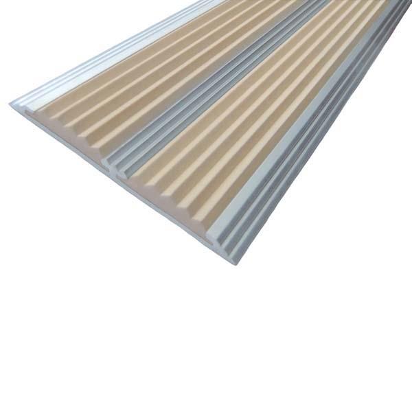 Противоскользящая алюминиевая самоклеющаяся полоса с двумя вставками 70 мм/5,5 мм 1,0 м бежевый