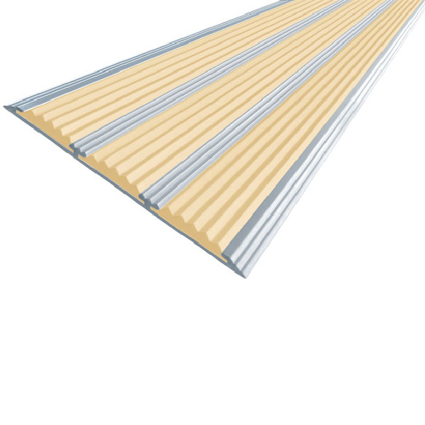 Противоскользящая алюминиевая полоса с тремя вставками 100 мм/5,6 мм 1,0 м бежевый