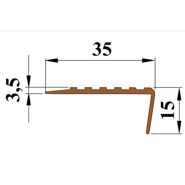 Противоскользящий угол для ступеней 35х15 мм самоклеющийся, коричневый, 12,5м