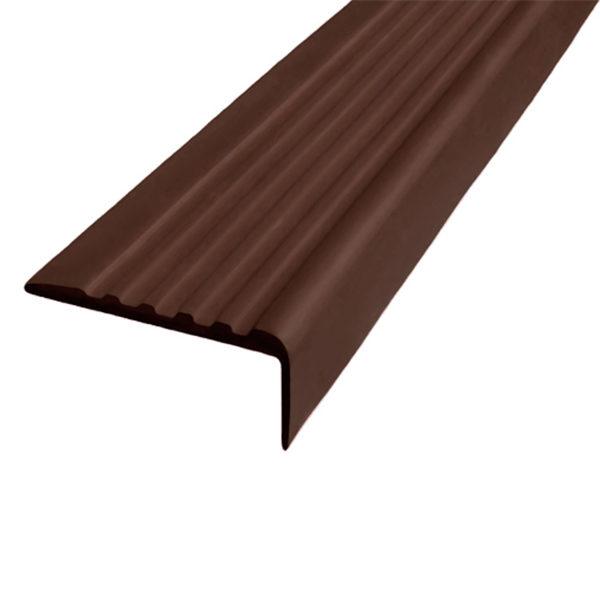 Противоскользящий угол для ступеней 35х15 мм самоклеющийся, темно-коричневый, 12,5м