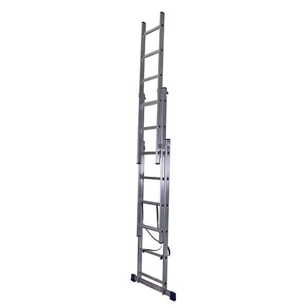 Лестница алюминиевая трехсекционная универсальная усиленная 12 ступеней