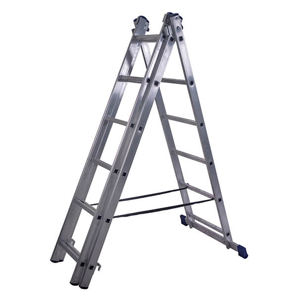 Лестница алюминиевая трехсекционная универсальная усиленная 13 ступеней