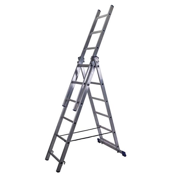Лестница алюминиевая трехсекционная универсальная усиленная 14 ступеней