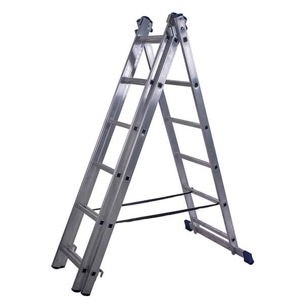 Лестница алюминиевая трехсекционная универсальная усиленная 15 ступеней