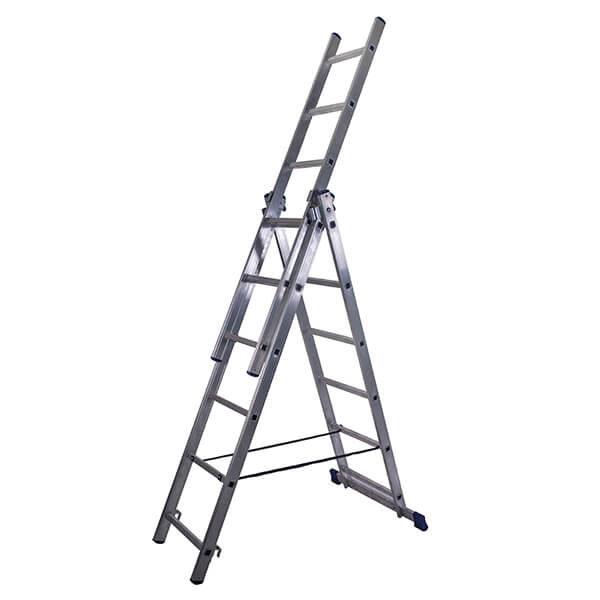Лестница алюминиевая трехсекционная универсальная усиленная 17 ступеней