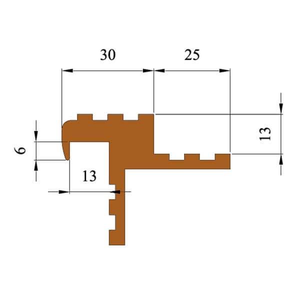 Закладной противоскользящий профиль «Безопасный Шаг Премиум» (БШ-30) черный