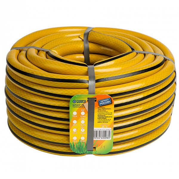 Шланг поливочный Х1 12 мм, 25 м, ПВХ, желто-черный