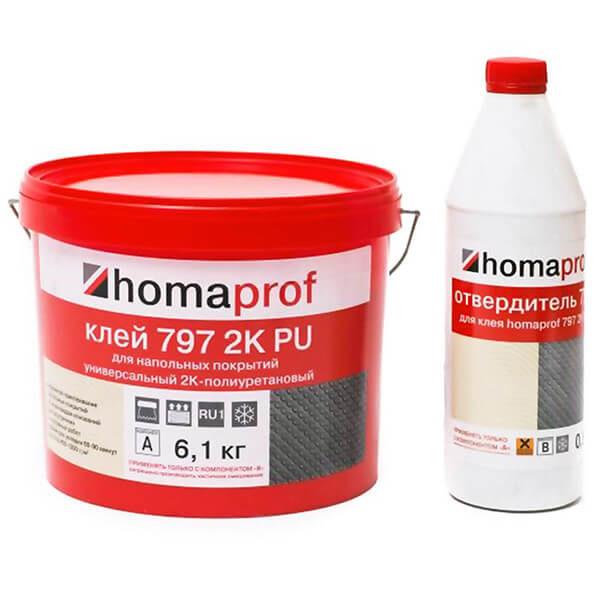 Клей HomaProf 797 2K-PU для напольных покрытий ПВХ (с отвердителем)