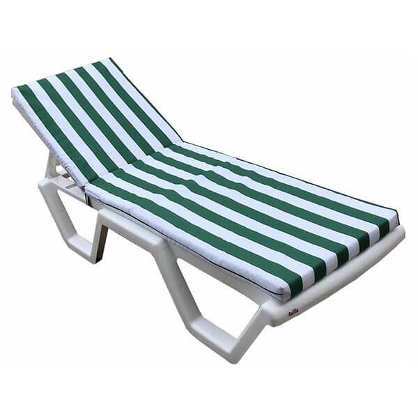 Матрас для шезлонга, зеленые/белые полоски