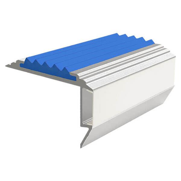 Противоскользящий алюминиевый анодированный угол-порог GlowStep-45 2,0 м синий, профиль черный