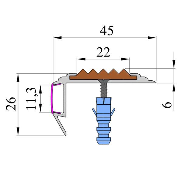 Противоскользящий алюминиевый анодированный угол-порог GlowStep-45 1,0 м тем-корич, профиль цветной