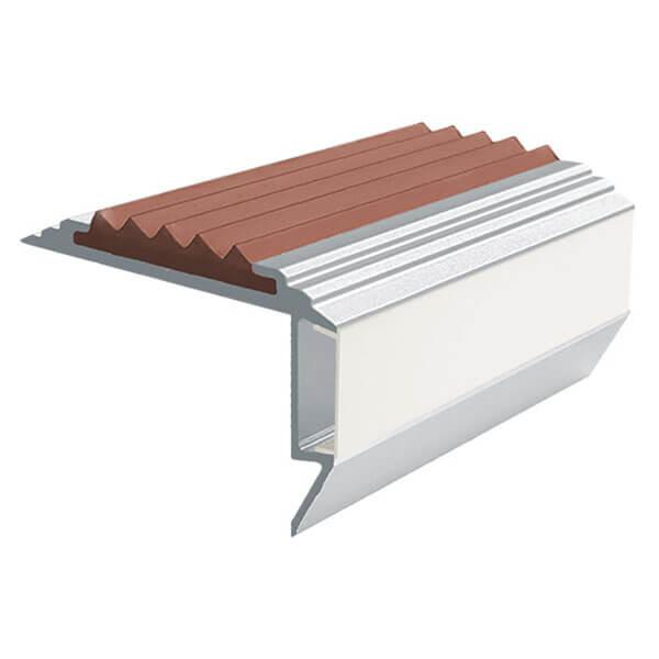 Противоскользящий алюминиевый анодированный угол-порог GlowStep-45 2,0 м коричневый, профиль цветной