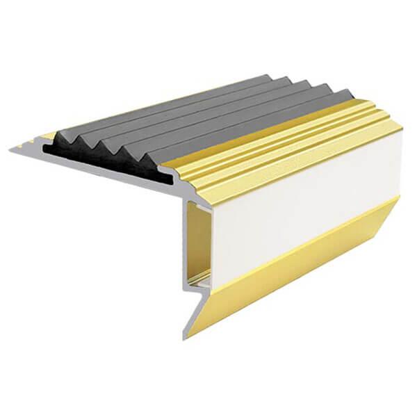 Противоскользящий алюминиевый анодированный угол-порог GlowStep-45 2,0 м серый, профиль цветной