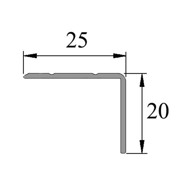Анодированный алюминиевый угол-порог УП-25-20