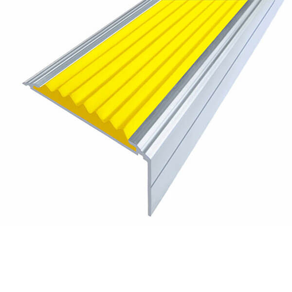 Противоскользящий анодированный алюминиевый угол-порог Премиум 50 мм 2,0 м желтый