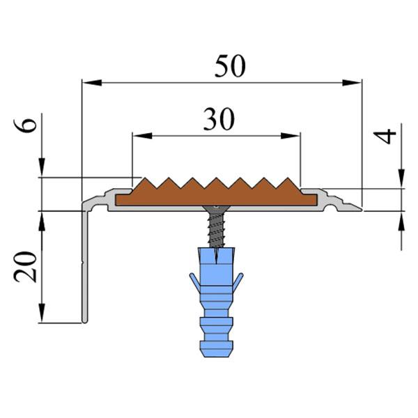 Противоскользящий анодированный алюминиевый угол-порог Премиум 50 мм 3,0 м голубой