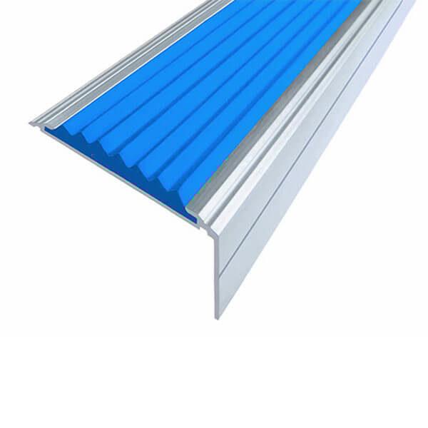 Противоскользящий анодированный алюминиевый угол-порог Премиум 50 мм 1,0 м синий
