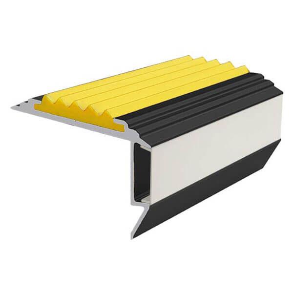 Противоскользящий алюминиевый анодированный угол-порог GlowStep-45 1,0 м желтый, профиль черный