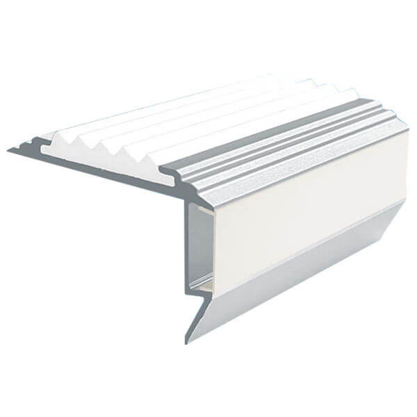 Противоскользящий алюминиевый анодированный угол-порог GlowStep-45 1,0 м белый, профиль цветной