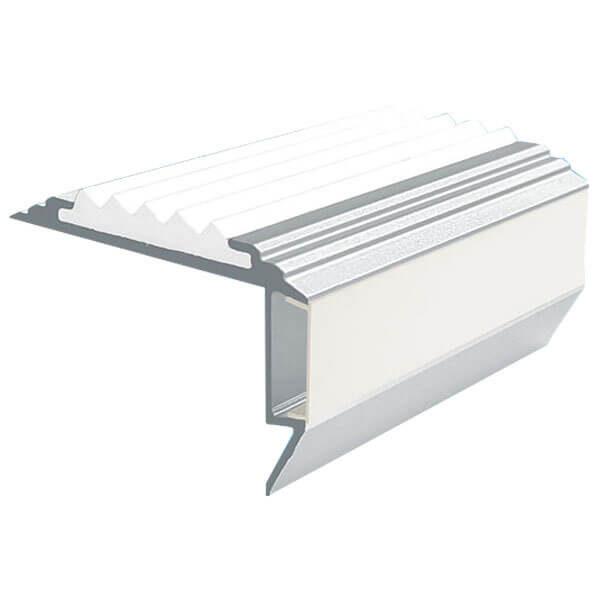 Противоскользящий алюминиевый анодированный угол-порог GlowStep-45 1,0 м белый, профиль черный