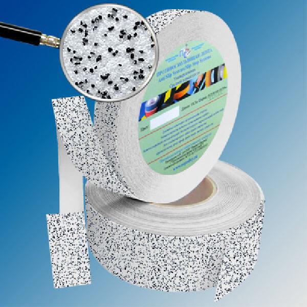 Противоскользящая абразивная лента SlipStop 60-80 grit 50 мм, 18,3 м бело-черный мрамор