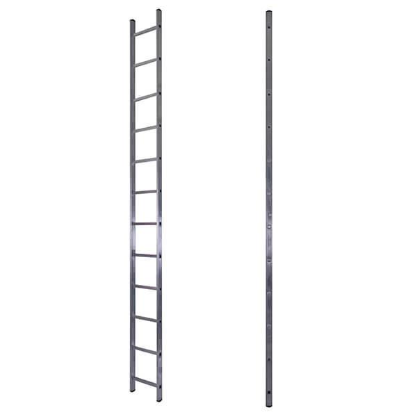 Лестница алюминиевая односекционная приставная усиленная 12 ступеней