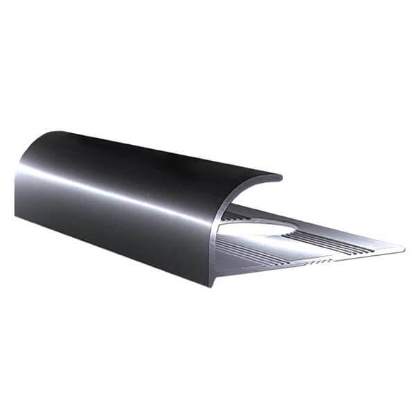 Алюминиевый профиль для внешнего угла в четверть круга УВЧ-09-ЧГ черный/глянцевый