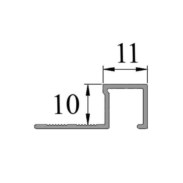 Алюминиевый профиль для П-образной окантовки П-10-10-СГ серебро/глянцевый