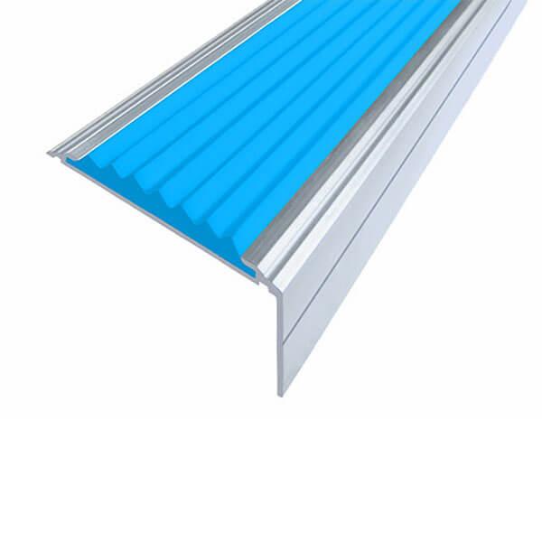 Противоскользящий алюминиевый угол-порог Премиум 50 мм 1,0 м голубой