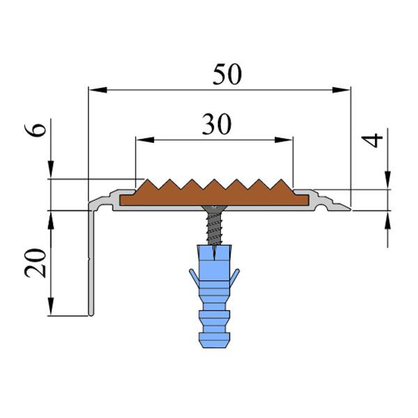 Противоскользящий алюминиевый угол-порог Премиум 50 мм 1,5 м голубой